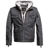 Brandit - Black Rock Hooded Grau Grey Biker Vintage Jacke Hoody Winter hochwerti