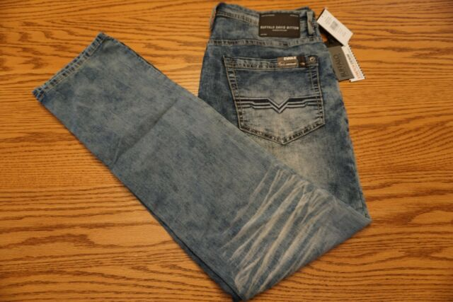 USED Men/'s Buffalo Davis Bitton Sam-X Slim Straight Stretch Jeans