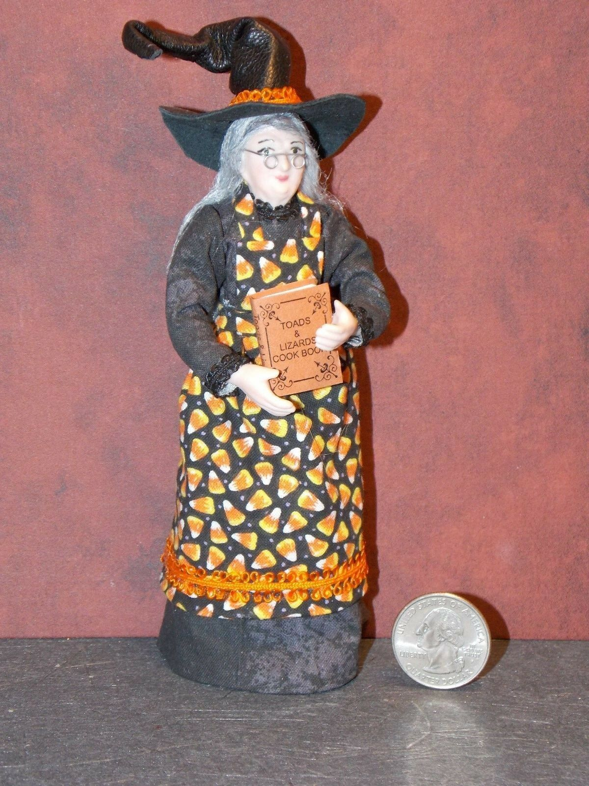 Dollhouse Miniature Halloween Witch Lady Doll 1 12 inch scale D61 Dollys Gallery
