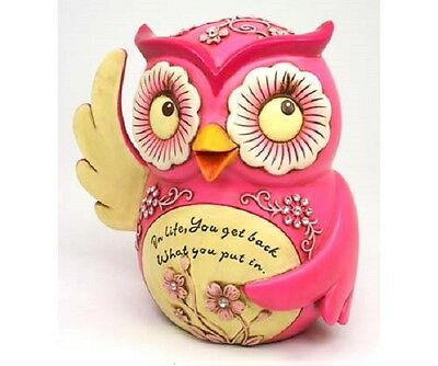 Inpirational Cast Poly Resin Pink Owl  Resin Money Box Bank Ornaments