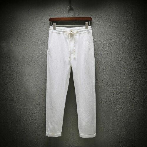 Men Linen Cotton Harem Pants Soft Loose Cropped Trousers Baggy Drawstring Casual