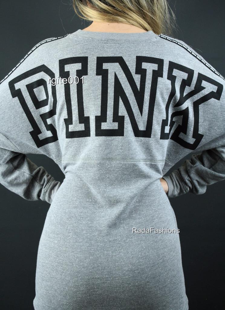 Victoria's Secret PINK Sweatshirt Tunic Tunic Tunic Crew Graphic Logo Top NWT f45779