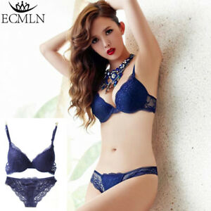 4f069fa82 Women s Push Up Lace Embroidery Bras Sets Sexy Deep V Floral ...