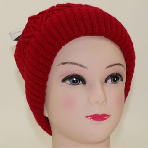 Mütze Beanie Strickmütze Winter Ballonmütze Damen ohne Bommel Rot M45