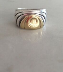 Vintage-14kt-Gold-amp-Sterling-Silver-Chunky-Ring