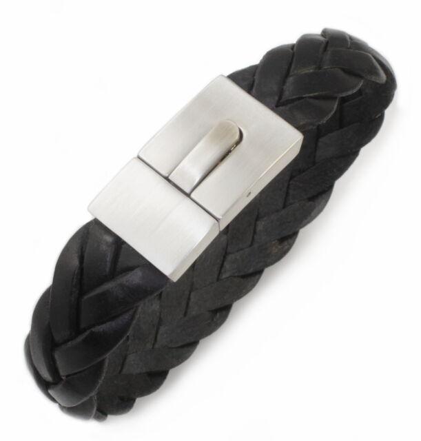 A23 Damen Herren Leder Armband Geflochten Edelstahl Schmuck Flechtarmband Ø 6 mm
