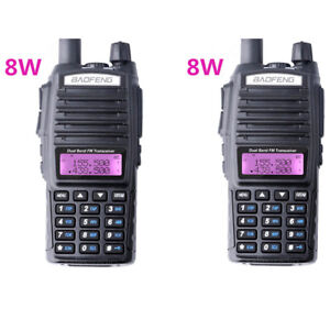 2X-Baofeng-UV-82-Real-8W-Dual-Band-UHF-VHF-FM-Walkie-Talkie-Radios-Transceiver