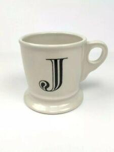 Anthropologie Letter J Initial Coffee Mug White Black Retro Shaving Cup Monogram