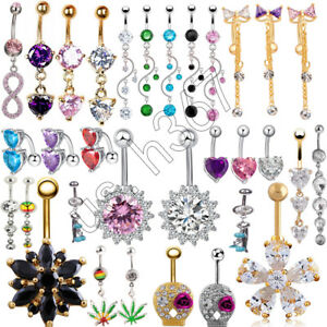 Details About Women S Crystal Surgical Steel Dangle Navel Belly Ring Bar Body Piercing Jewelry