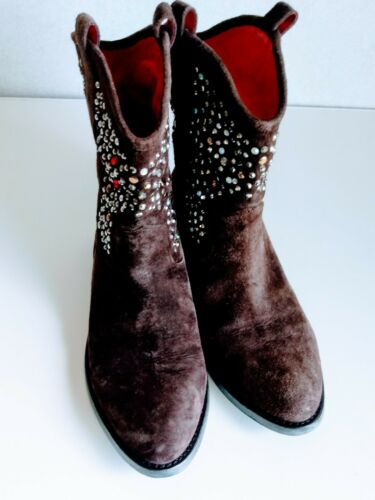 taglia 1947 Beverly All scamosciata Boy marrone 7b con Cow Feldman strass pelle Leather in gqp5qT7x