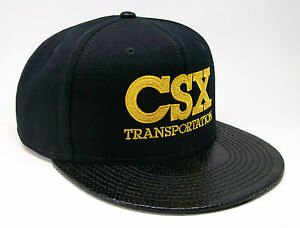 01fec288453 Image is loading CSX-Transportation-Railroad -Embroidered-Snakeskin-Flat-Visor-Cap-