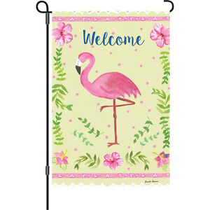 Pink Flamingo Hibiscus Flower Garden Flag Small 18034 x 12034