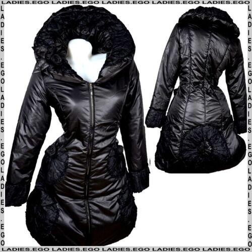 Da Donna Caldo Inverno Palloncino Giacca trapuntato cappotto 36 38 40 42 S M L Parka Nero