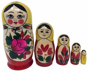 Wooden-Russian-Nesting-Babushka-Matryoshka-5-Dolls-Set-Hand-Painted-New