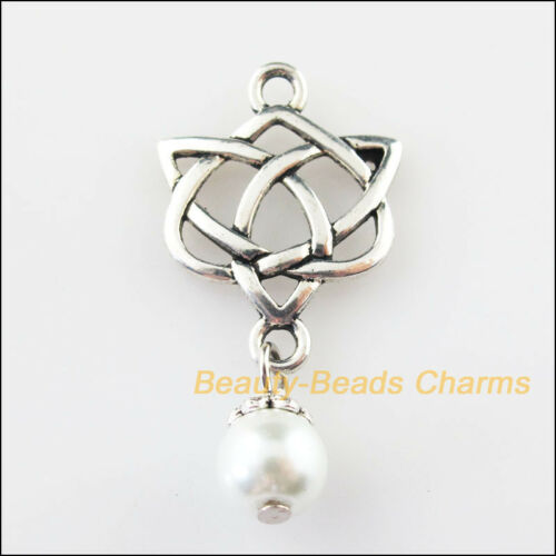 6Pcs Tibetan Silver Tone Chinese Knot White Glass Beads Charms Pendants 19x37mm