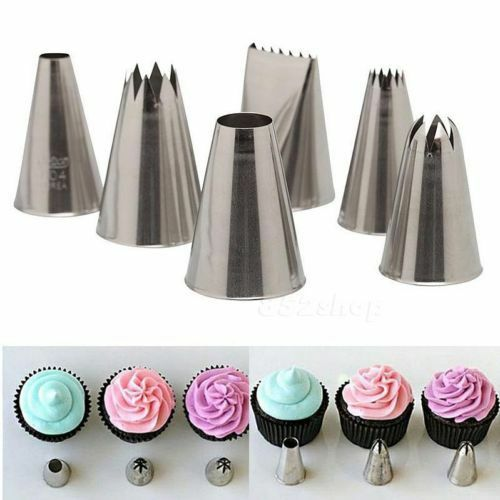 6 pcs Icing Piping Nozzle Cake Decorating Sugarcraft Pastry Tips Tool Set