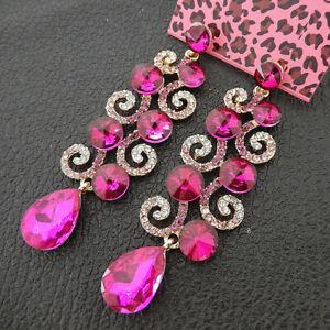Women-039-s-Fuchsia-Crystal-Rhinestone-Flower-Betsey-Johnson-Drop-Earrings