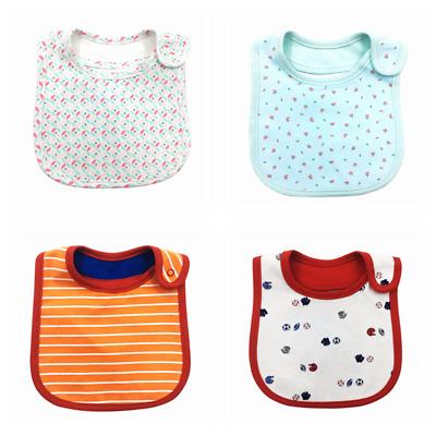 4pcs Baby Bibs Pure Cotton Bandana Feeding Kids Toddler Girl Pink Red Purple