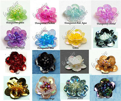 "U PICK COLOR~ 9/16"" Beading Sequin Flower Embellishments Appliques Sew On #5014"