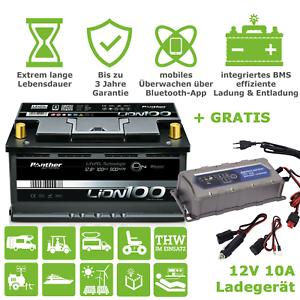 Lithium Batterie 12V 100Ah LiFePO4 Akku Bluetooth App BMS Solar Wohnmobil Boot