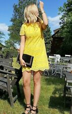 ZARA YELLOW LACE DRESS SHORT MINI SHIFT DRESS SIZE MEDIUM BLOGGERS