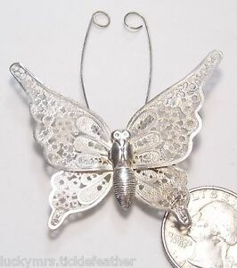 d06a612efeb76 Details about Lovely Vintage Silvertone Filigree Butterfly Pin, Long Wire  Antenna, C-Clasp