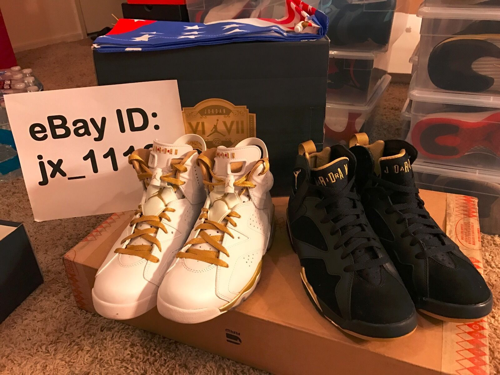 NIKE AIR JORDAN 6 & 7 RETRO  goldEN MOMENTS PACKAGE  SIZE 8