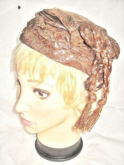 VINTAGE HAT BROWN SCULPTURE PILLBOX NancyE Sparkly W/Tassel Woman Lady Millinery