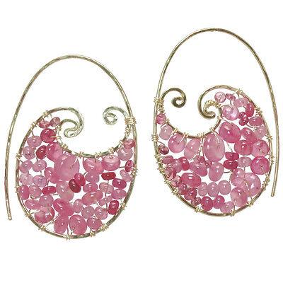 Bora Bora 257 ~ Ruby Vessonite Prehnite Swirl Earrings with Metal Choice