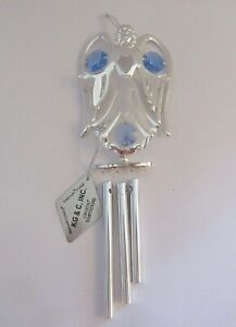 Wind-Chime-ANGEL-HOLDING-HEART-Austrian-Crystals-silver-plated-blue-crystals