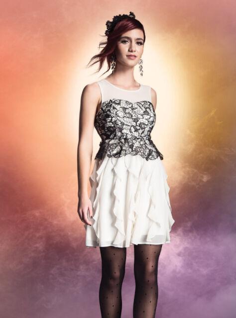 Harry Potter Ivory Taffeta Black Lace Ruffle Gown Prom Dress Jrs Xs