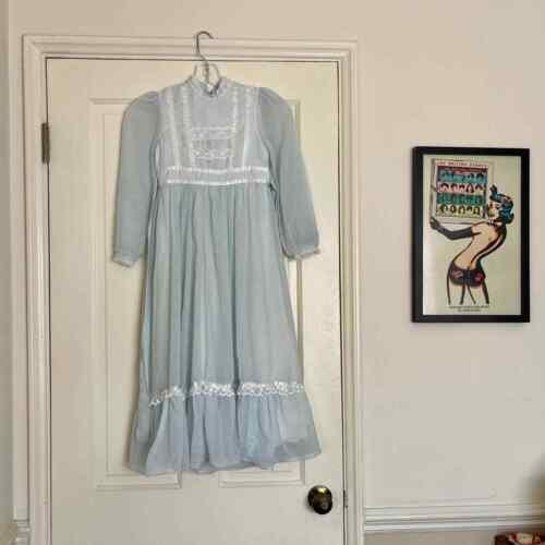 70s Vintage Gunne Sax Blue Midi Prairie Dress - image 1