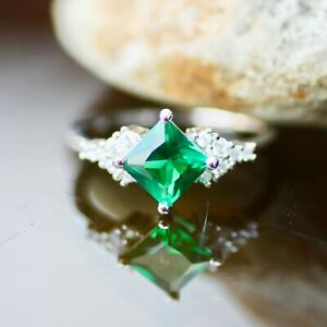 20th Anniversary May Birthstone Created Princess Cut Emerald Stud Earrings Sterling Silver 925