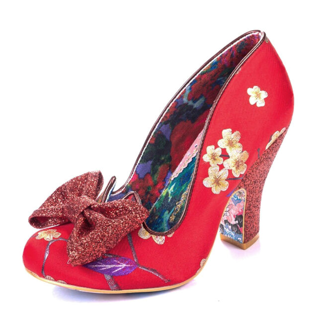 6 UK, Blue Floral Blue Floral at Irregular Choice Nick of Time Womens Heeled Court Shoes