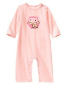 GYMBOREE-COZY-PALS-PINK-OWL-N-SCARF-VELOUR-ONE-PIECE-3-6-NWT