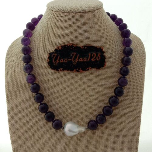 """19/"""" White Keshi Pearl Amethyst Necklace"""