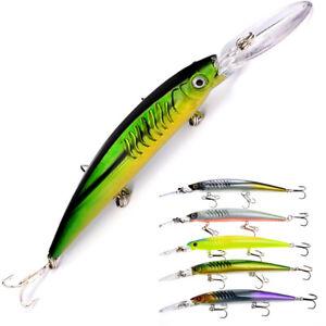 Neue-lange-Zunge-Kranzbaender-Tackle-Angeln-Minnow-Koeder-Lures-Fish-Hooks