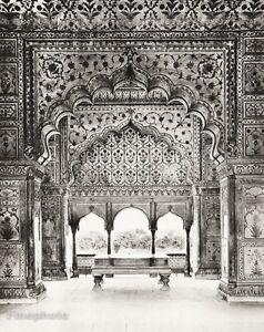1934-Vintage-11x14-INDIA-Delhi-Diwan-I-Khas-Red-Fort-Interior-Art-HURLIMANN