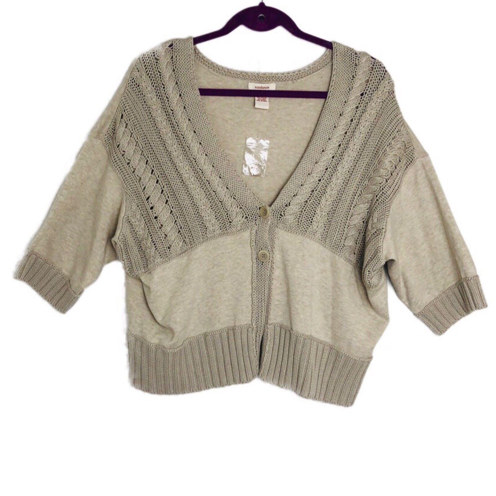 Sundance Catalog Dolman Sleeve Beige Oatmeal Button Cotton Cardigan New XL A4