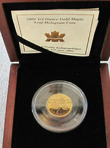 2001-CANADA-10-DOLLARS-9999-GOLD-COIN-HOLOGRAM-MAPLE-LEAF-1-4-OZ-RARE