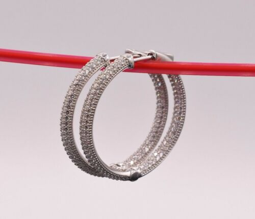 35mm Inside Out Diamonique Pave CZ Hoop Earrings 14K White Gold Clad Silver 925