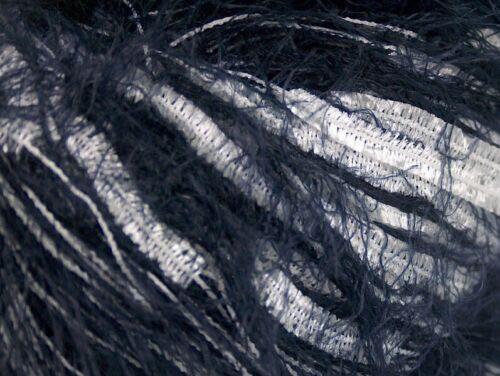 Midnight Blue Eyelash /& White Long Butterfly Blend Yarn Ice 62090 50gram 98yds
