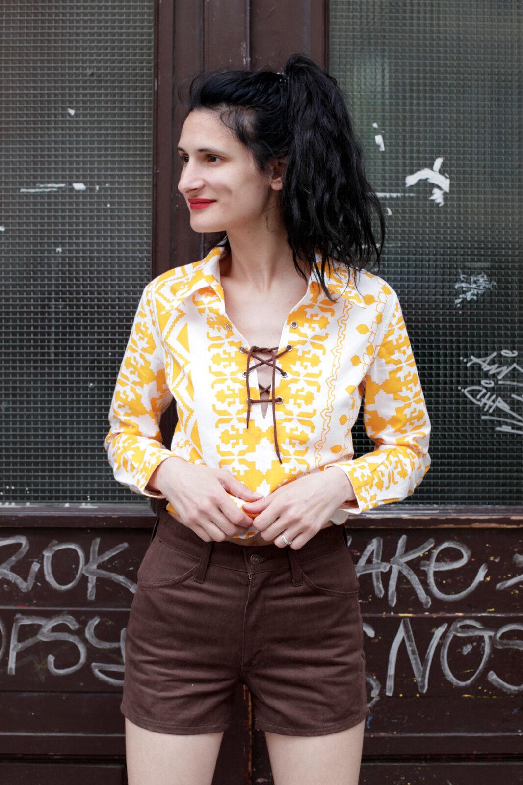 Jean Paul bluese Shirt Oberteil blouse 70er True VINTAGE 70´s BOHO Hippie selten