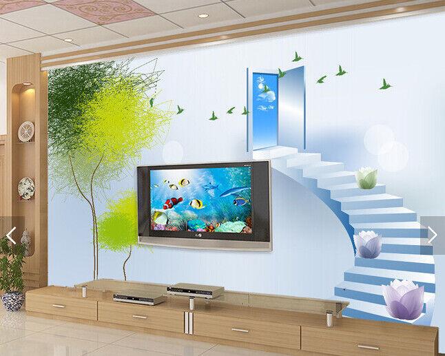 3D Weiß Stair 552 Wallpaper Murals Wall Print Wallpaper Mural AJ WALL AU Kyra