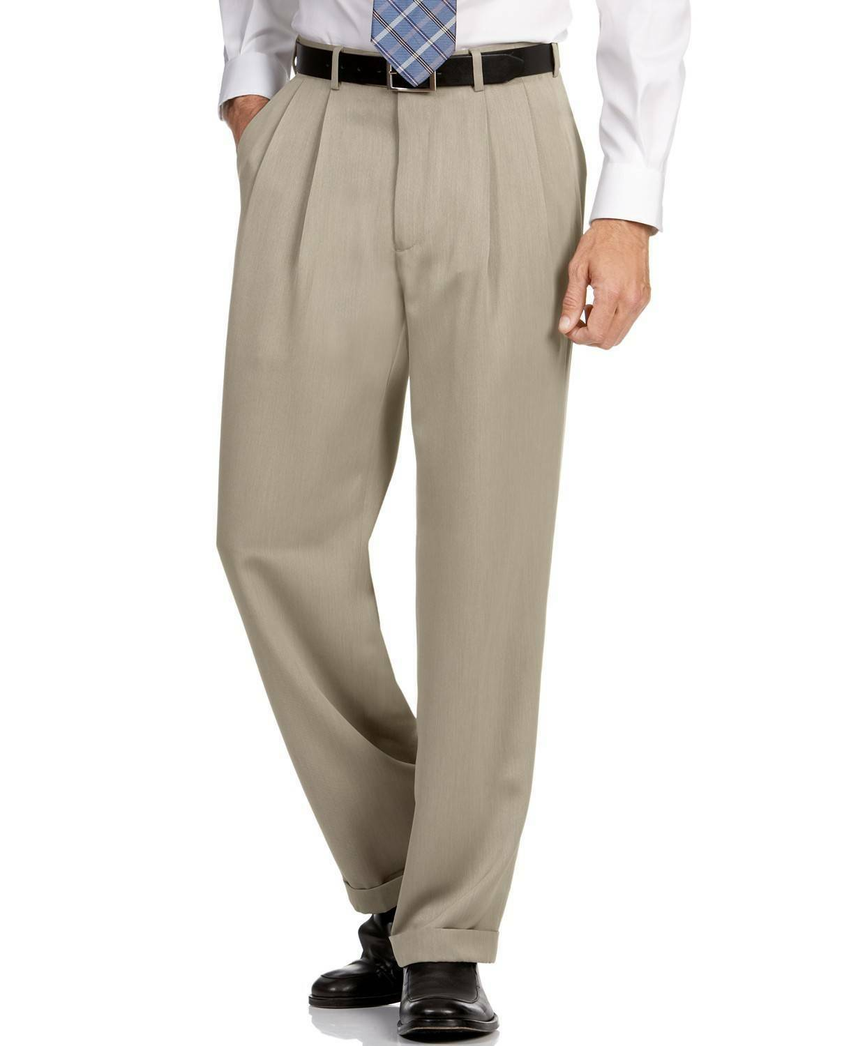 PERRY ELLIS Men BEIGE CLASSIC FIT STRETCH CASUAL PLEATED PANTS 34W 32L