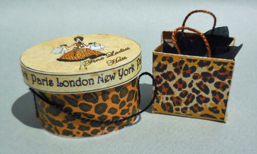 DOLLHOUSE MINIATURE ~ LEOPARD DESIGNER HAT BOX SET by LORRAINE SCUDERI
