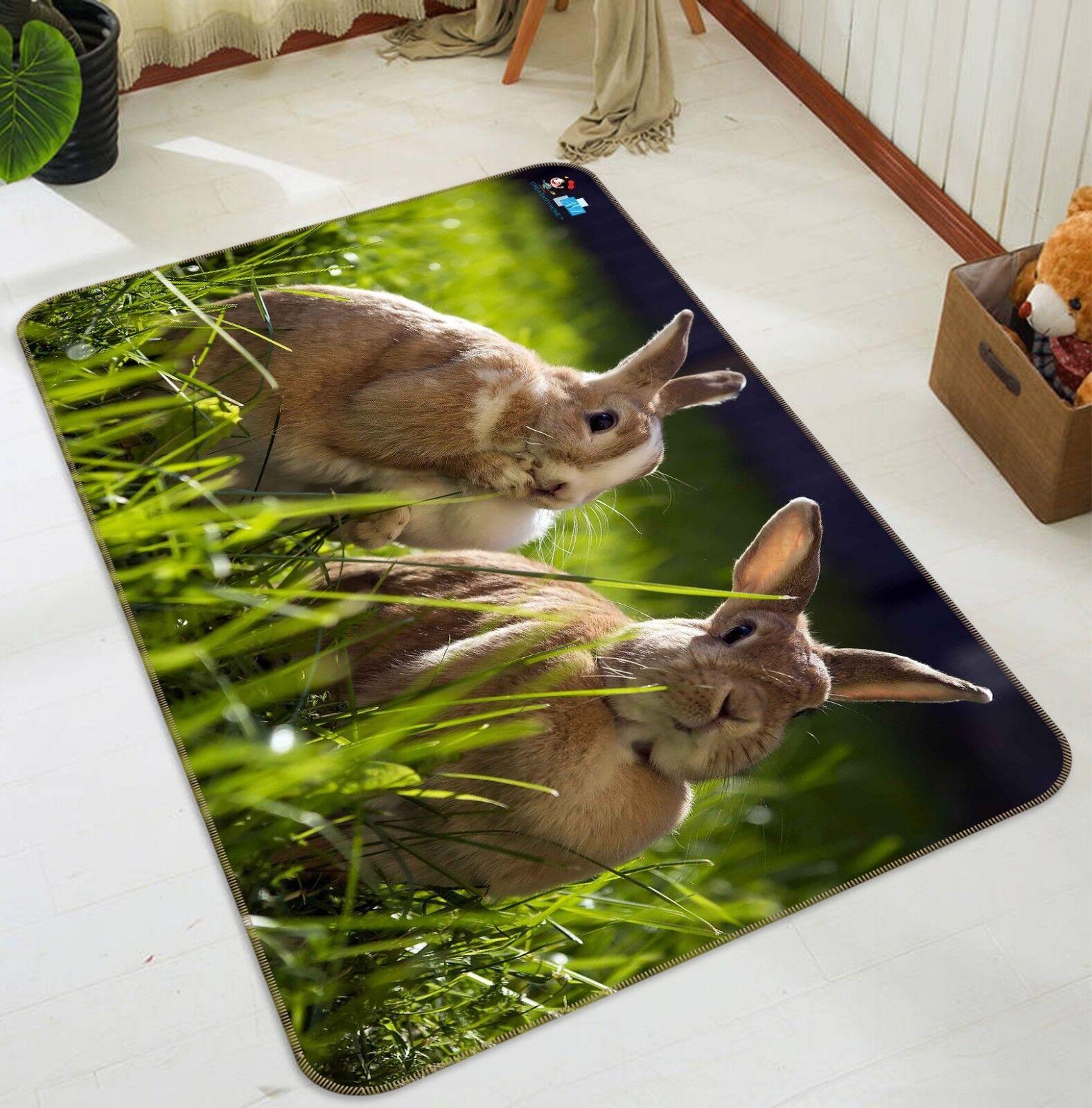 3D Coniglio 03 tappetino antiscivolo tappeto camera Tappetino Qualità Elegante foto Tappeto UK Estate