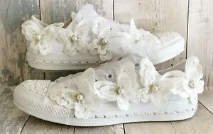 2ea743853acd Image is loading Wedding-Converse-Trainers-Shoes-Swarovski-Crystals -Pearls-and-