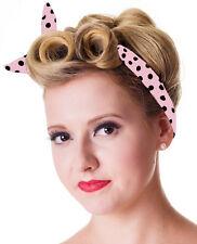 Hair Band Rockabilly Wire Hair Band Pink Polka Dot Hair Band Pinup Headband