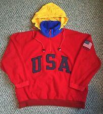 Vtg POLO Ralph Lauren Superman USA Mens Fleece Red sport ski bear